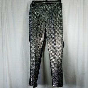 ELOQUII Sz18 Metallic Diamond Front Pants Blk/Slvr